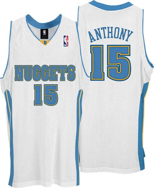 cd69c83f5 Denver Nuggets Authentic Style Home White Jersey  15 Carmelo Anthony. Hover  over image to zoom. Click to enlarge