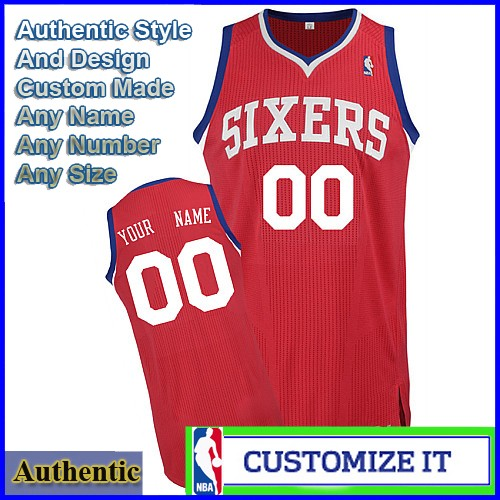 99b54029e42 Philadelphia 76ers Custom Authentic Road Style Jersey Red. Hover over image  to zoom. Click to enlarge