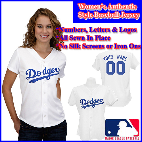 LA Dodgers Authentic Personalized Women s White Jersey - Custom Made ... e74dc8688c4