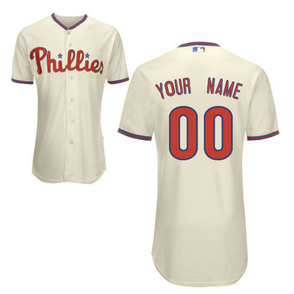 Philadelphia Phillies Authentic Style Personalized Alternate Home White  Jersey 3c098330147