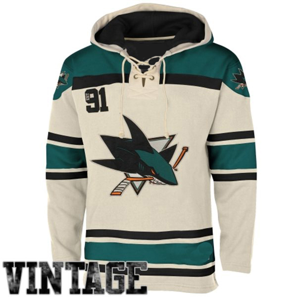 Mens San Jose Sharks Old Time White Lace Heavyweight Hoodie Hockey Jersey 1268e3b386be