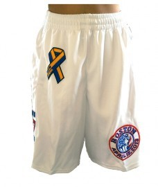 Boston 617 B Strong White Patriots Day Marathon Tribute Basketball Runners Shorts