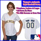Milwaukee Brewers Authentic Personalized Women's White Pinstriped Jersey