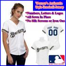 Milwaukee Brewers Authentic Personalized Women's White Jersey