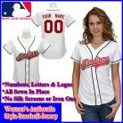 Cleveland Indians Authentic Personalized Women's White Jersey