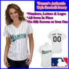 Florida Marlins Authentic Personalized Women's White Pinstriped Jersey
