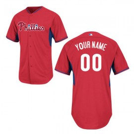 Philadelphia Phillies Authentic Style Personalized BP Red Jersey