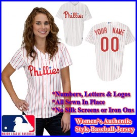 Philadelphia Phillies Authentic Personalized Women's White Pinstriped Jersey