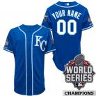 Kansas City Royals Authentic Style Personalized World  Series 2015 Alt 2 Blue Jersey