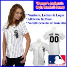 Chicago White Sox Authentic Personalized Women's White Pinstriped Jersey