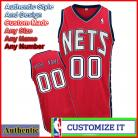 New Jersey Nets Custom Authentic Style Road Jersey Red