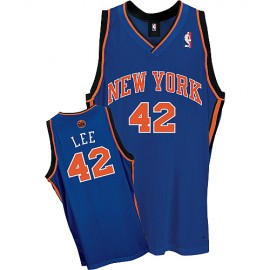 New York Knicks Authentic Style Road Jersey Blue #42 David Lee