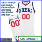 Philadelphia 76ers Customized Authentic Style Star Home Jersey White