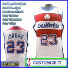 Washington Bullets Throwback Basketball  Jersey White #23 Michael Jordan