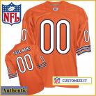 Chicago Bears Customized Authentic RBK Style Alternate Orange Jersey (Pick A Player)
