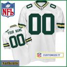 Green Bay Packer RBK Style s Authentic White Ladies Jersey (Customized or Blank)