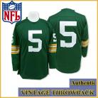 Green Bay Packers Authentic Throwback Long Sleeve Green Jersey #5 Paul Hornung
