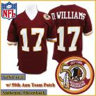 Washington Redskins Authentic Style Throwback Burgundy Jersey #17 Doug Williams
