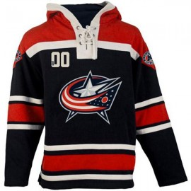 Mens Columbus Blue Jackets Old Time Navy  Lace Heavyweight Hoodie Hockey Jersey