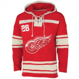 Mens Detroit Red Wings Old Time Red Lace Heavyweight Hoodie Hockey Jersey