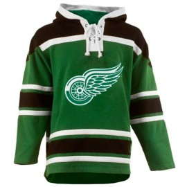 Mens Detroit Red Wings Old Time St Pats Green Lace Heavyweight Hoodie Hockey Jersey