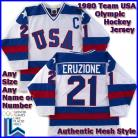USA Olympic 1980 Miracle on Ice White Eruzione Hockey Jersey
