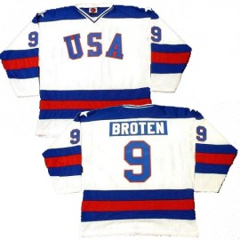 USA Olympic 1980 Miracle on Ice White Neal Broten Hockey Jersey