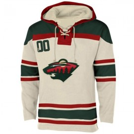 Mens Minnesota Wild Old Time White Lace Heavyweight Hoodie Hockey Jersey
