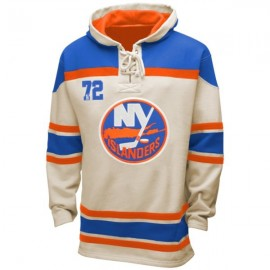 Mens NY Islanders Old Time White Lace Heavyweight Hoodie Hockey Jersey