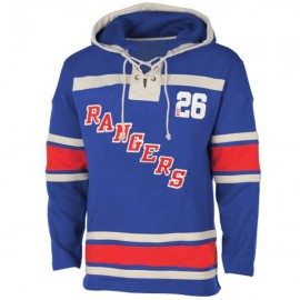 Mens NY Rangers Old Time Royal Blue Lace Heavyweight Hoodie Hockey Jersey
