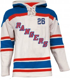 Mens NY Rangers Style 1 White Lace Heavyweight Hoodie Hockey Jersey