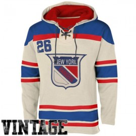 Mens NY Rangers Style 2 White Lace Heavyweight Hoodie Hockey Jersey