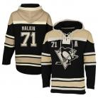 Pittsburgh Penguins  Old Time #71 Malkin Black Lace Heavyweight Hoodie Hockey Jersey