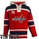 Mens Washington Capitals Old Time Red Lace Heavyweight Hoodie Hockey Jersey