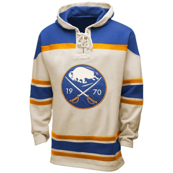 Mens Buffalo Sabres Old Time White Lace Heavyweight Hoodie Hockey ...