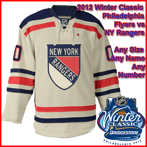 best website d0fed 86ed8 New York Rangers 2012 NHL Winter Classic Custom or Blank Jersey
